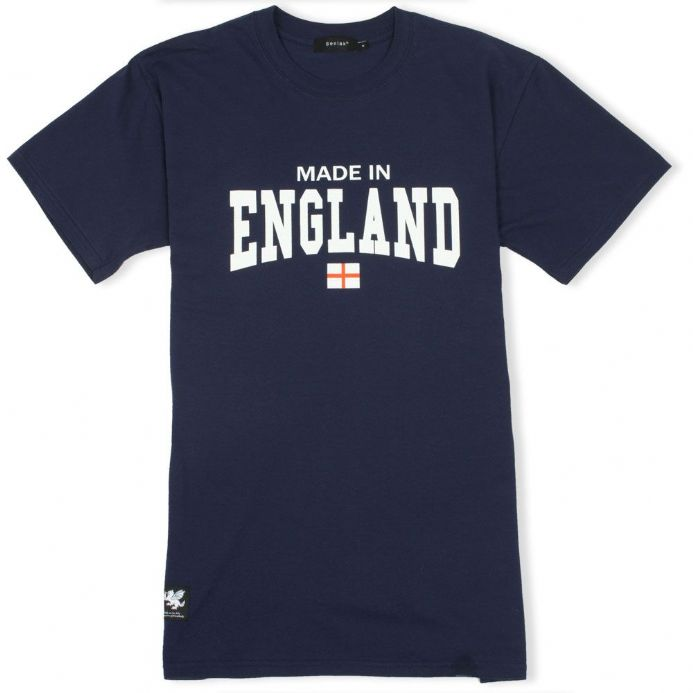 Made In England Navy T-shirt with White Dragon woven patch